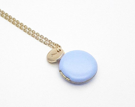 Personalized Photo Locket Necklace. Lavender Blue Enamel Round Small Pendant with gold steel chain. Custom Monogram Initial Jewelry
