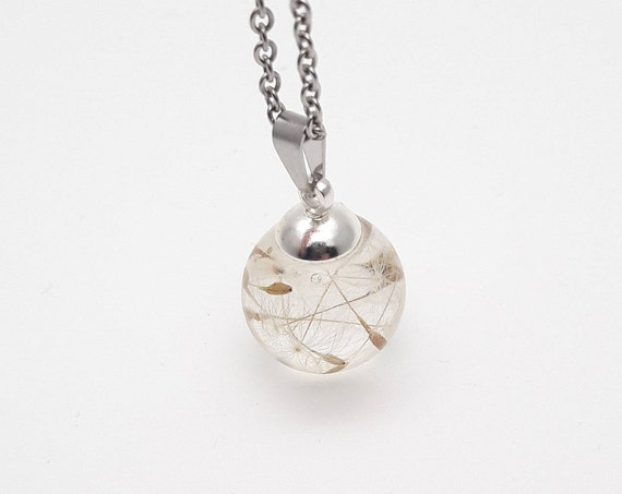 Small ball dandelion seeds resin silver chain necklace//Wish pendant pressed flower globe//Handmade botanical terrarium sphere clear resin