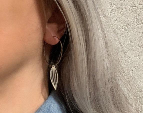 Silver Hoops Earrings long LEAVES stainless steel