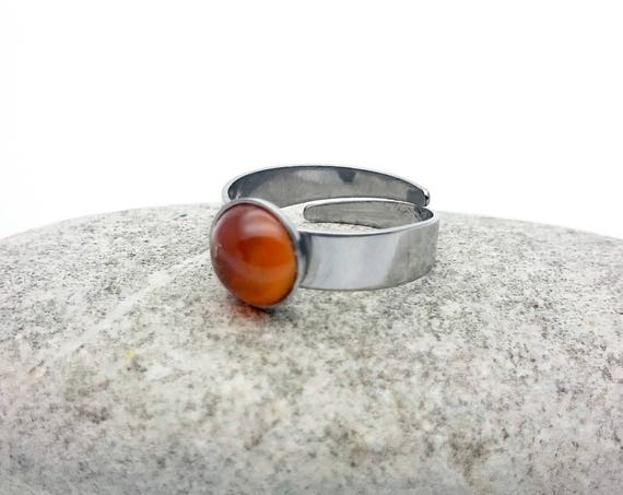 Carnelian silver steel ring adjustable hypoallergenic//Small Carnelian Round gemstone cabochon 8 mm surgical steel minimalist ring