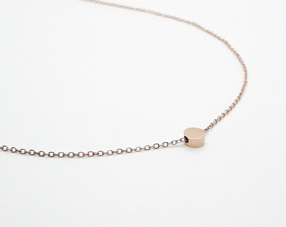 Rose Gold tiny round charm necklace rose gold plated 18k stainless steel hypoallergenic//Dot bead disc circle minimal dainty necklace