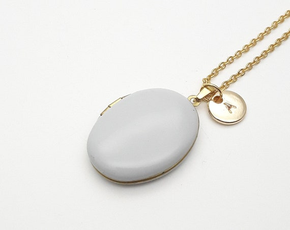 Personalized Light Grey Enamel Oval Photo Locket Necklace with gold color steel chain