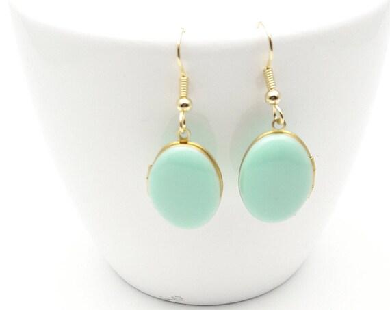 Photo locket Earrings Pastel Mint Green Enamel and gold surgical steel hooks hypoallergenic