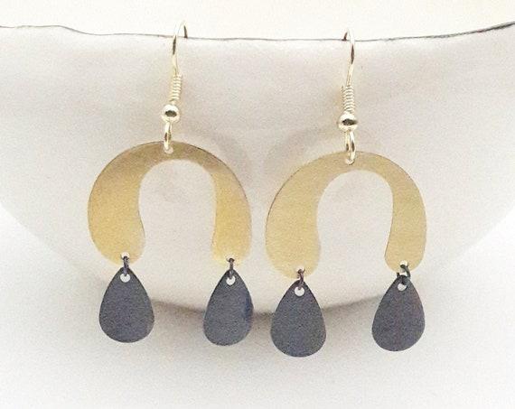 Gold Black Earrings U shape, brushed brass arc and oxidised brass drop pendants with steel hooks