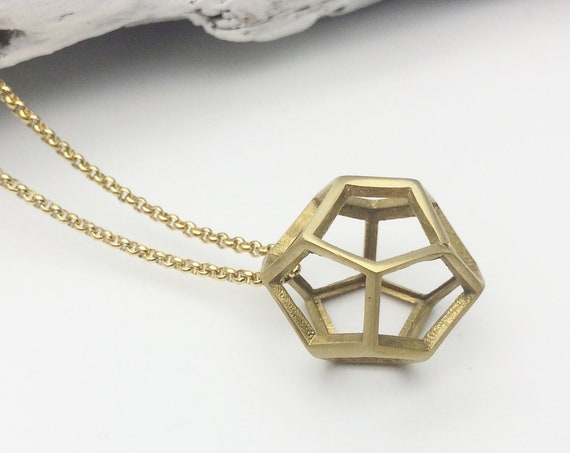 Gold Polygon 3D Necklace Dodecahedron raw brass pendant and gold color stainless steel long chain