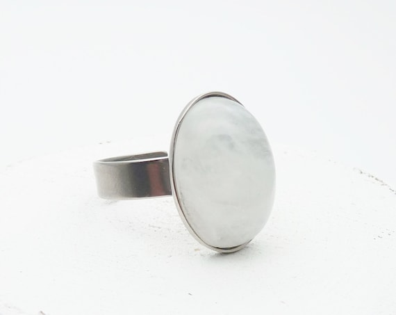 White Moonstone Ring Oval silver stainless steel adjustable hypoallergenic cabochon 18x13 mm genuine natural white moonstone gem minimalist