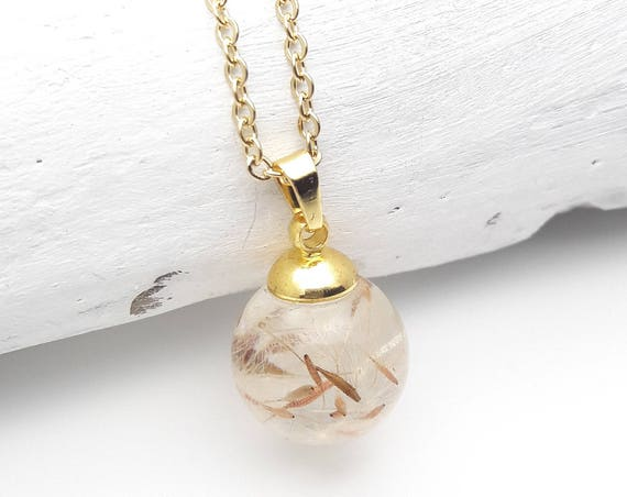 Pressed Flower Necklace Small ball dandelion seeds resin and gold steel chain hypoallergenic natural jewelry terrarium orb globe sphere