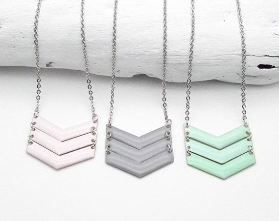 3 Chevrons Pastel Necklace silver stainless steel chain enamel pendant soft pink mint green gray