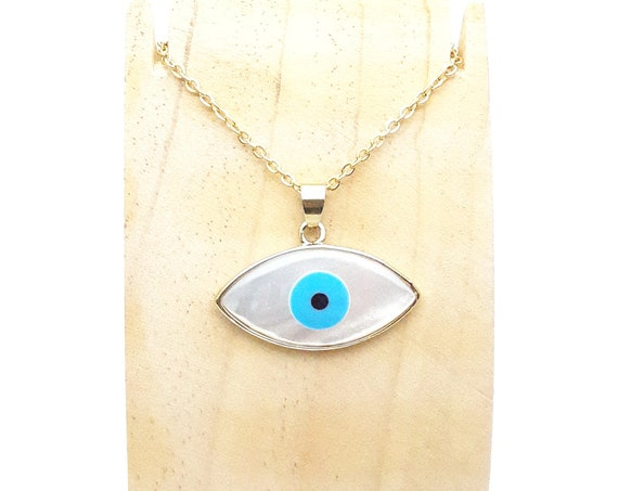 Evil Eye Necklace White sea shell Pendant with gold plated edges