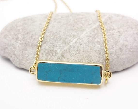 Turquoise Gold Bar horizontal Necklace//Gold plated edges 24k Blue howlite Bar necklace//Turquoise gem gold steel chain hypoallergenic