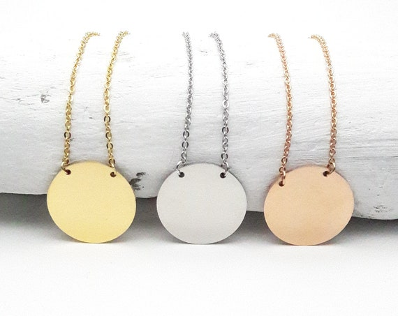 Round Stainless steel Necklace Yellow gold, rose gold or silver plated minimal hypoallergenic disc pendant charm circle simple coin