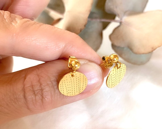 Round Studs Earrings Pendants 18k plated Gold Stainless Steel Engraved Dots