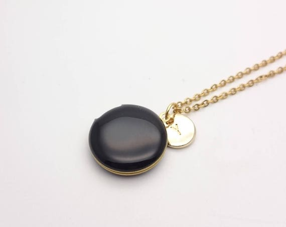Personalized Black Photo locket Necklace. Small Enamel Round Pendant with gold color steel chain and initial. Custom Monogram jewelry.