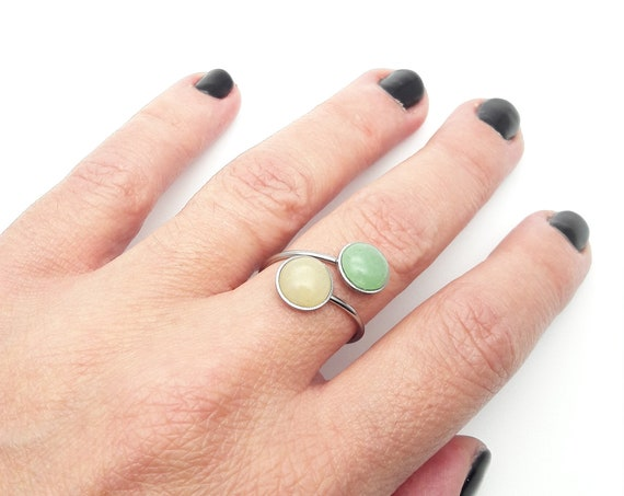 Two Stones Ring silver stainless steel adjustable - Green Aventurine Yellow Calcite Round hypoallergenic 2 cabochons 8 mm surgical steel