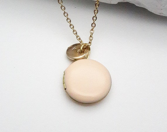 Personalized Photo Locket Necklace. Round Enamel Soft Peach Pastel Pendant, gold color surgical steel chain. Custom Monogram Initial Jewelry
