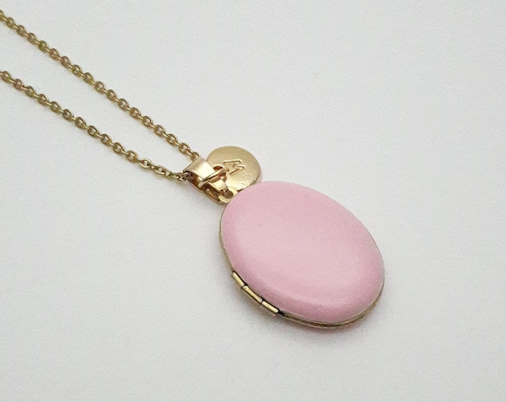 Personalized Soft Pink Enamel Oval Photo Locket Necklace gold surgical steel chain