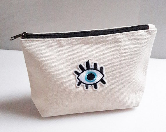 Evil Eye Pouch cotton canvas zip travel bag for Cosmetic Jewelry Makeup Storage Accessory Organizer
