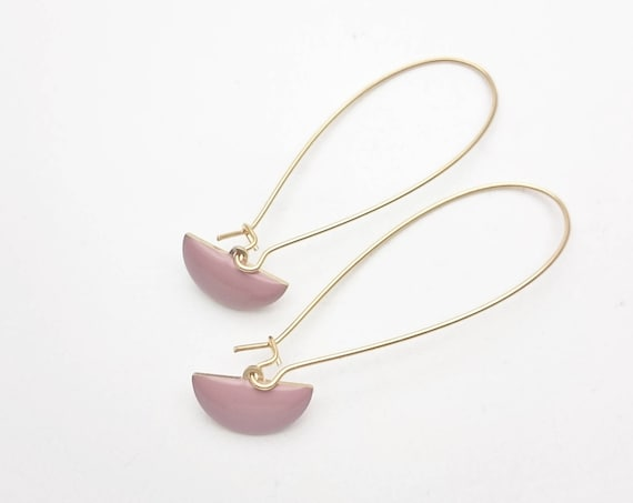 Long Gold Old Pink Geometric Pendants Earrings semi circle//Enamel pink dangle earrings gold steel kidney earwires//Modern Pink Dangle