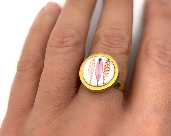 Gold Feathers Ring Stainless Steel Glass Cabochon 12 mm