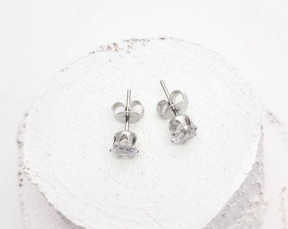 Earrings Studs 5mm round Clear cubic zirconia and Silver surgical steel