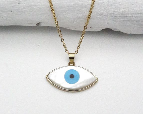 Evil Eye Necklace White sea shell and Turquoise Color Boho Pendant Real natural with gold plated edges and hypoallergenic gold steel chain