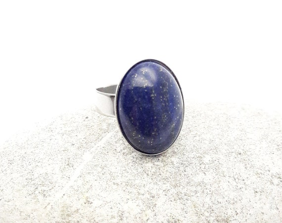 Lapis Lazuli ring silver steel adjustable hypoallergenic//Blue oval gem cabochon 18x13 mm ring