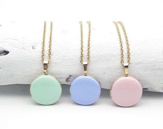 Photo Locket Necklace. Round Enamel Pendant and gold color surgical steel chain. Pastel pink, green mint, lavender blue