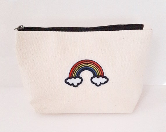 Rainbow Pouch cotton canvas zip travel bag