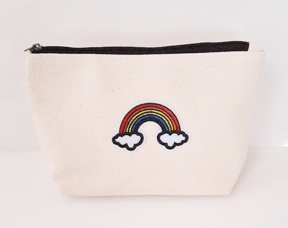 Rainbow cotton canvas zip pouch