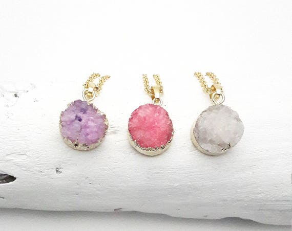 Druzy Round pink purple or white Necklace gold plated 24k pendant gold color stainless steel Chain//Druzy round gold hypoallergenic necklace