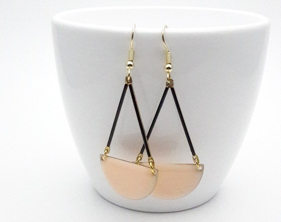 Long Earrings Pastel Soft Peach and Black Enamel semicircle gold color stainless steel earwires hypoallergenic//Soft Peach Dangle Earrings