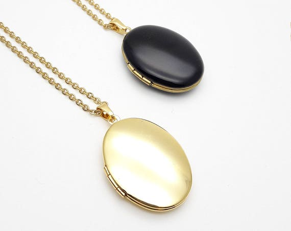 Oval Photo Locket Necklace//Long gold surgical steel chain Locket necklace//Hypoallergenic Black Enamel or Gold Brass photo locket necklace