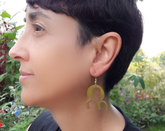 Gold Earrings Geometric Arcs U shape, brushed brass pendants with steel hooks