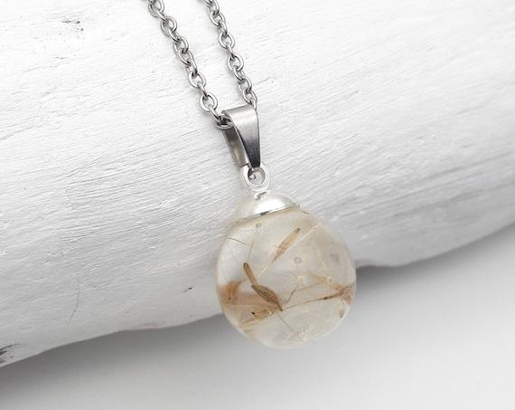 Small ball dandelion seeds resin silver chain necklace//Wish pendant pressed flower globe//Handmade botanical terrarium sphere clear resin