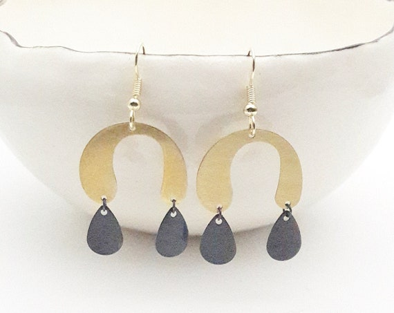 Gold Black Earrings U shape, brushed brass arc and oxidised brass drop pendants with steel hooks