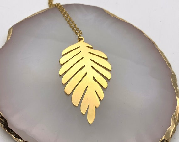 Big Gold Necklace Leaf 18k plated stainless steel