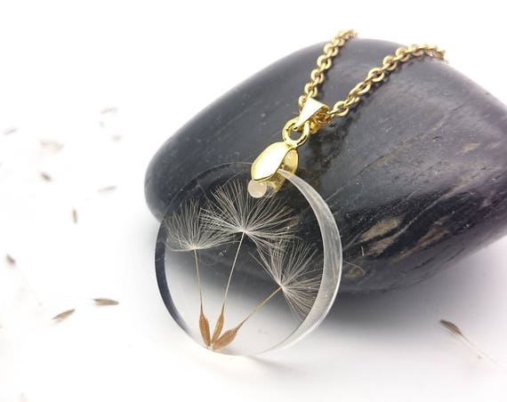 Round dandelion seeds resin necklace gold steel chain//Wish pressed flower pendant//Handmade botanical pendant//Terrarium real seed