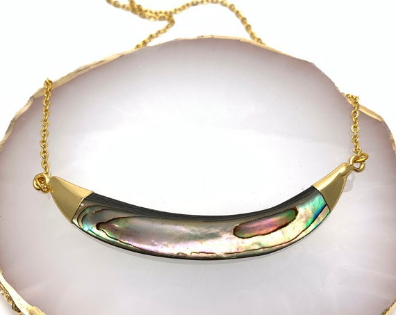 Necklace Abalone Shell smile gold dipped pendant and stainless steel chain