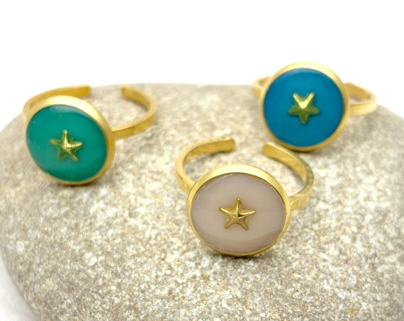 Gold Star Ring Resin Stainless Steel adjustable