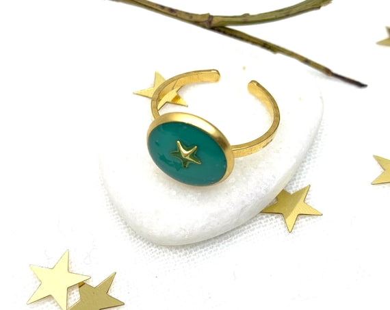 Gold Star Ring Green Resin Stainless Steel adjustable