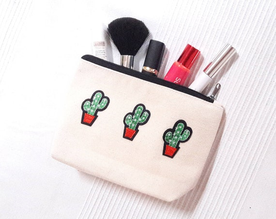 Cactus Pouch cotton canvas zip travel bag Cosmetic Jewelry Makeup Storage Accessory Organizer