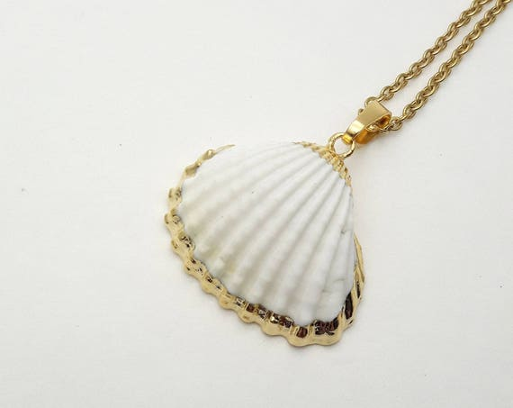 Gold White Scallop sea shell necklace//Ocean Nautical Beach Boho Mermaid Pendant//Real natural clam gold dipped 24k plated edge pendant
