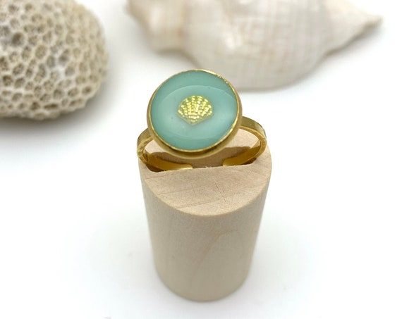 Gold Shell Ring Mint Green Resin Stainless Steel adjustable