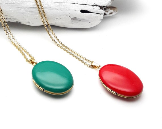 Oval Photo Locket Necklace with long gold plated surgical steel chain Green or Red Enamel