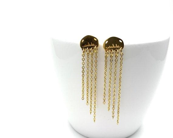 Gold Jellyfish Earrings stainless steel
