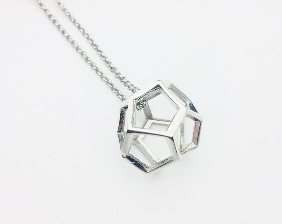 Silver Polygon 3D Necklace Dodecahedron silver brass pendant and stainless steel long chain