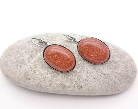 Goldstone oval earrings silver steel hypoallergenic