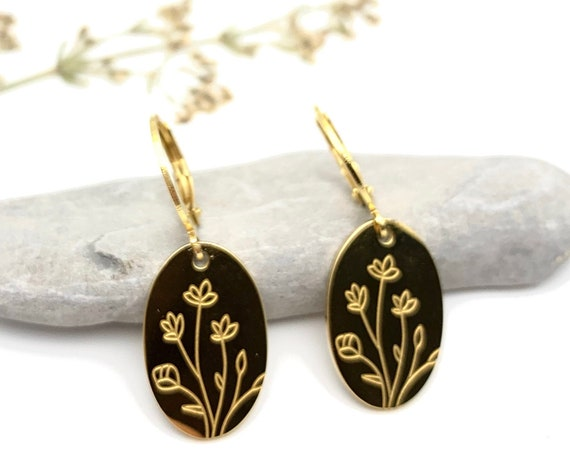 Gold Oval Earrings Flower Bouquet 24k gold plated stainless steel