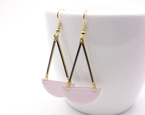 Pastel soft Pink and Black Enamel semi circle earrings and hypoallergenic gold stainless steel closures