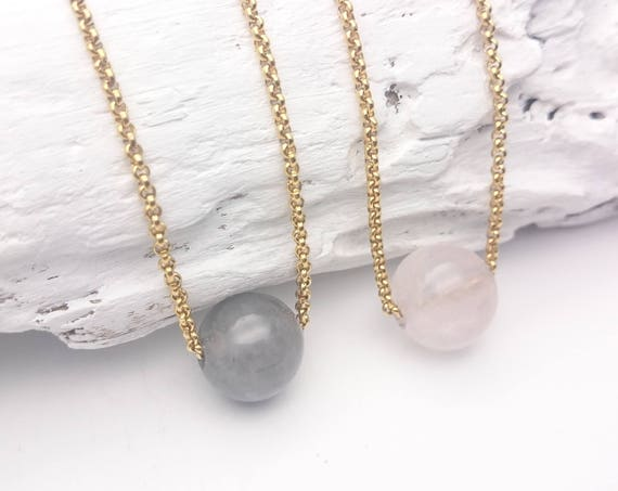 Rose Quartz or Cloudy Gray Quartz single bead necklace//Gemstone pendant gray or pink//Gold steel chain minimalist hypoallergenic necklace